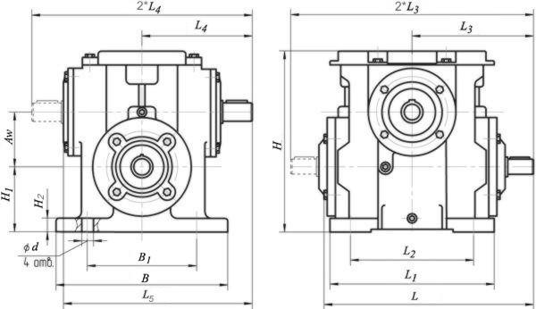 Редуктор червячный одноступенчатый универсальный. Тип 1Ч. 1Ч-63. Габаритные и присоединительные размеры.