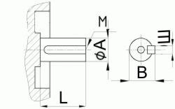 Редуктор червячный одноступенчатый универсальный, тип 2Ч и 2ЧМ. 2Ч-40 и 2ЧМ-40. Присоединительные размеры цилиндрического коца выходного вала.