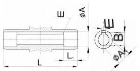 Редуктор червячный одноступенчатый универсальный, тип 2Ч и 2ЧМ. 2Ч-40 и 2ЧМ-40. Присоединительные размеры полого вала со шпоночным пазом. Выходного.