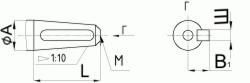 Редуктор червячный одноступенчатый универсальный, тип 2Ч и 2ЧМ. 2Ч-40 и 2ЧМ-40. Присоединительные размеры конического конца входного вала.