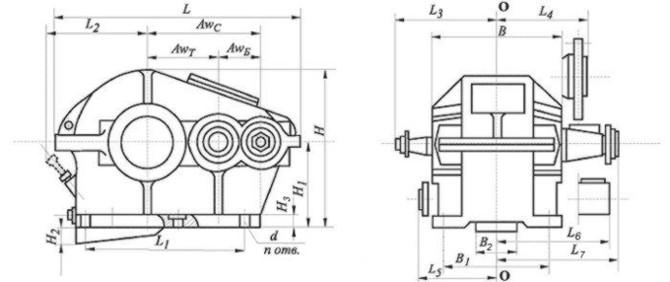 Редуктор цилиндрический,двухступенчатый, крановый. Тип Ц2. Ц2-350. Габаритные и присоединительные размеры.