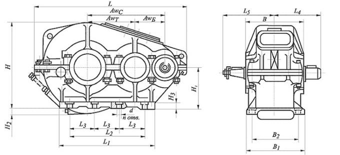 Редуктор цилиндрический,двухступенчатый, крановый. Тип РМ. РМ-400. Габаритные и присоединительные размеры.