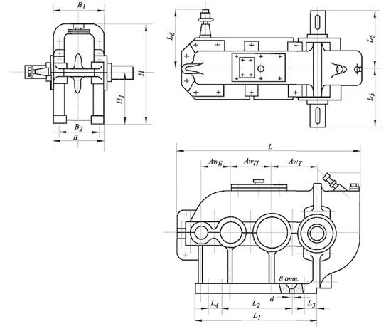 Редуктор цилиндрический, вертикальный, трехступенчатый, крановый. Тип ВК. ВК-475. Габаритные и присоединительные размеры.
