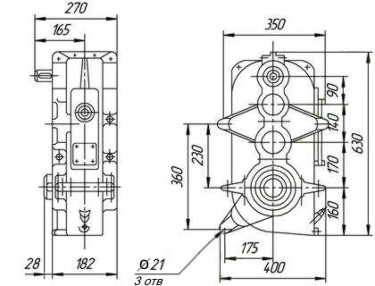 Редуктор цилиндрический, вертикальный, трехступенчатый, крановый. Тип В. В-400. Габаритные и присоединительные размеры.